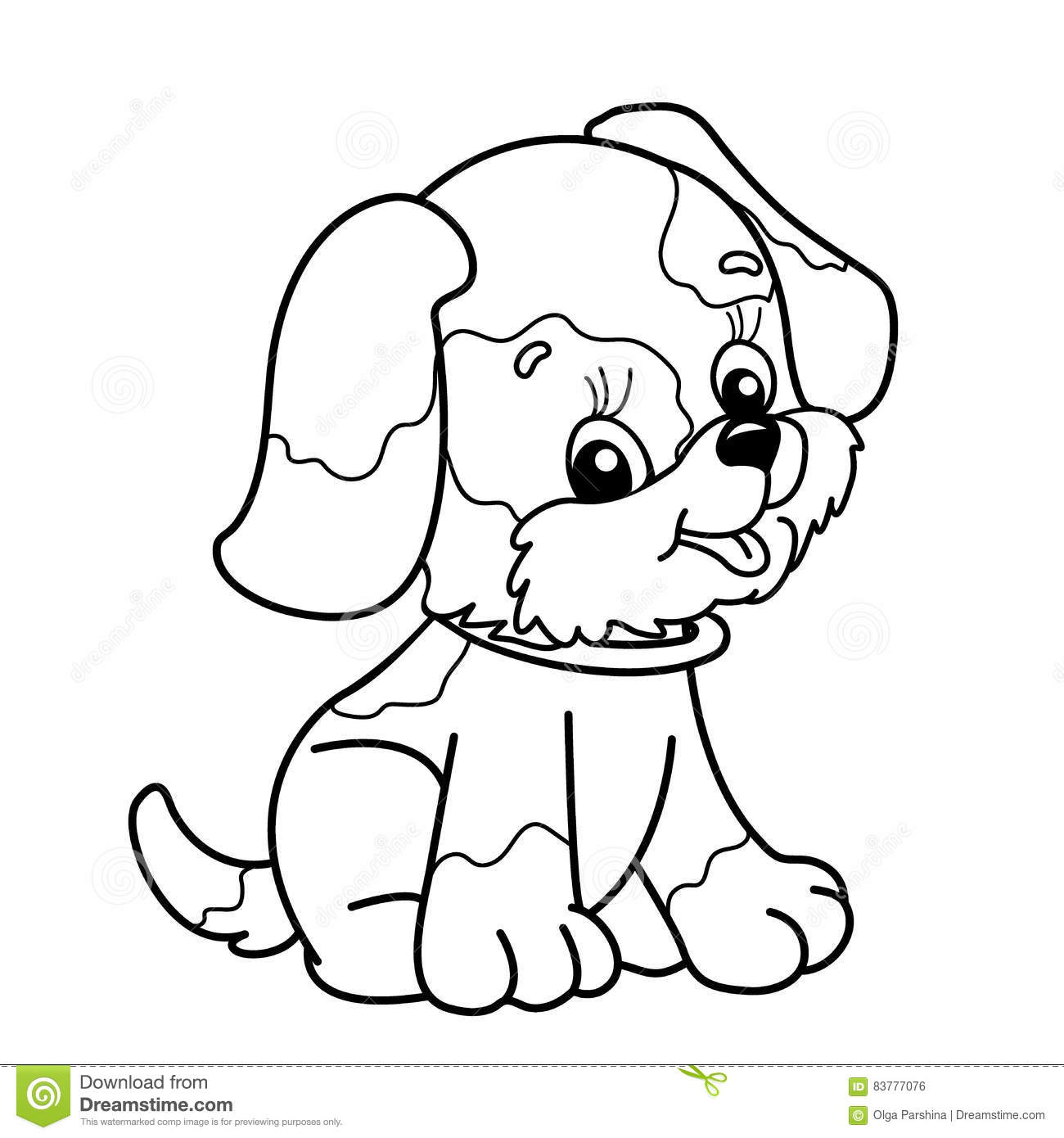 Coloring Page Outline Of Cartoon Dog Cute Puppy Sitting