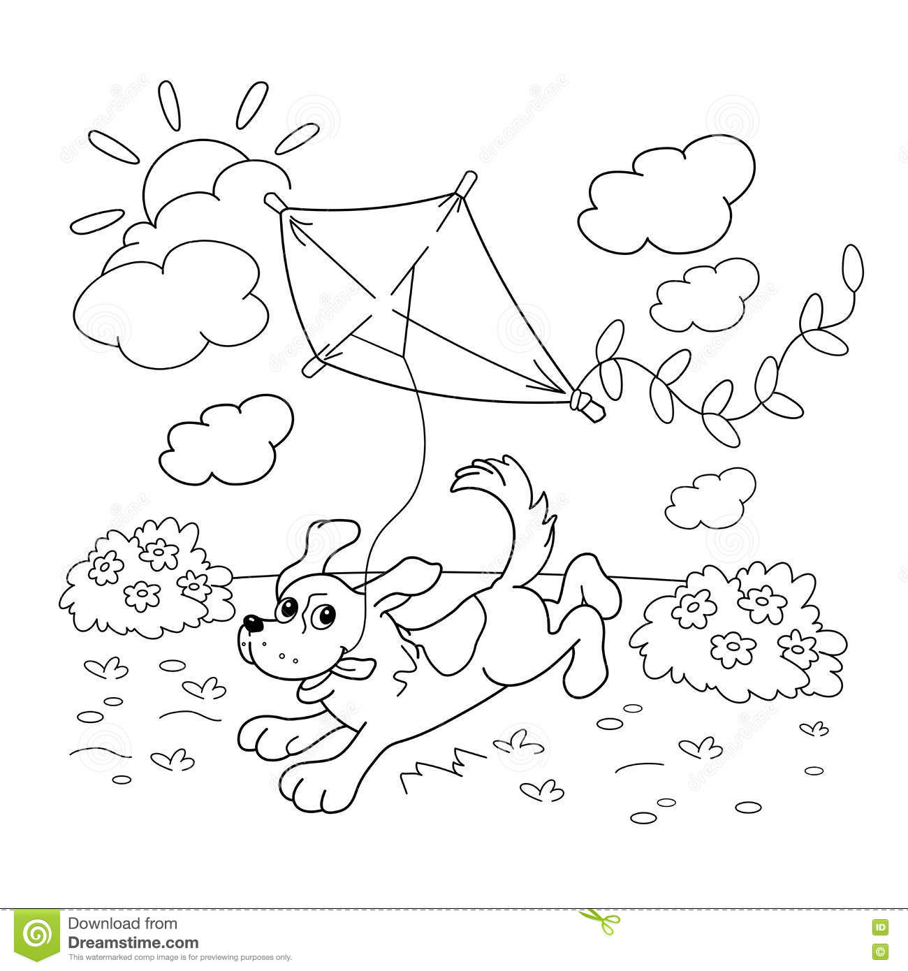 Coloring Page Outline Of Cartoon Dog With A Kite Coloring
