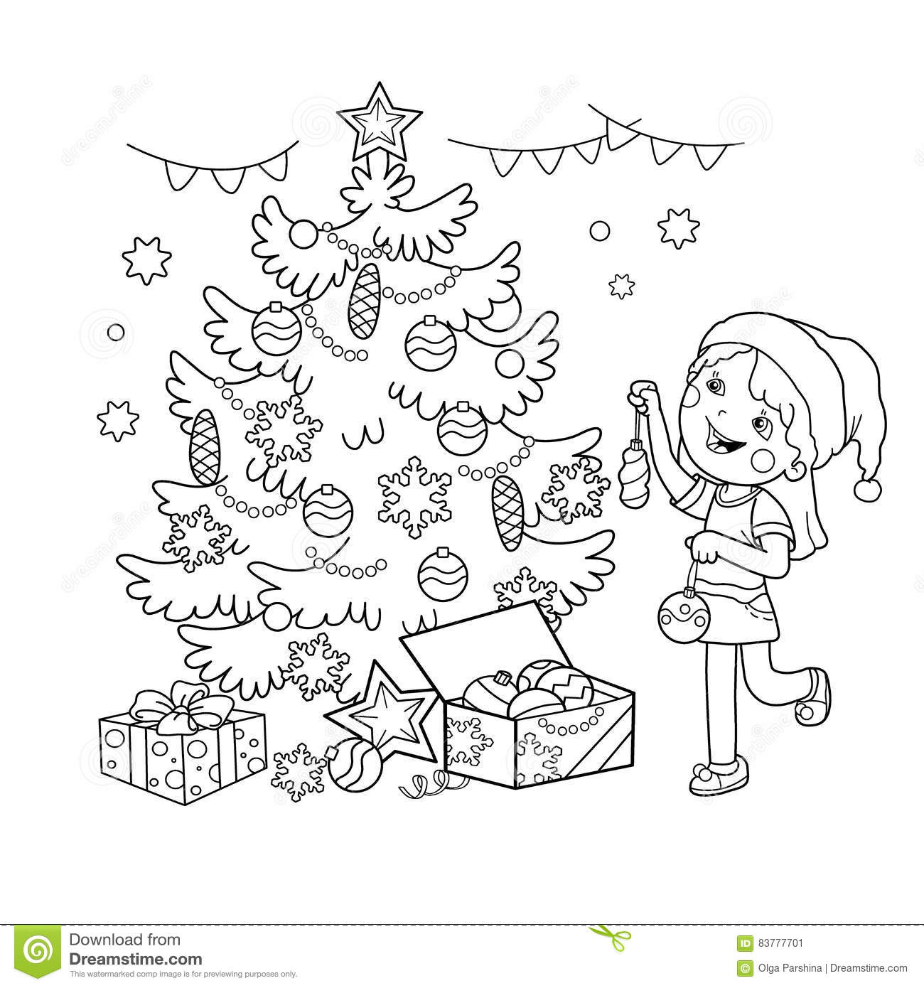 Coloring Page Outline Of Cartoon Girl Decorating The