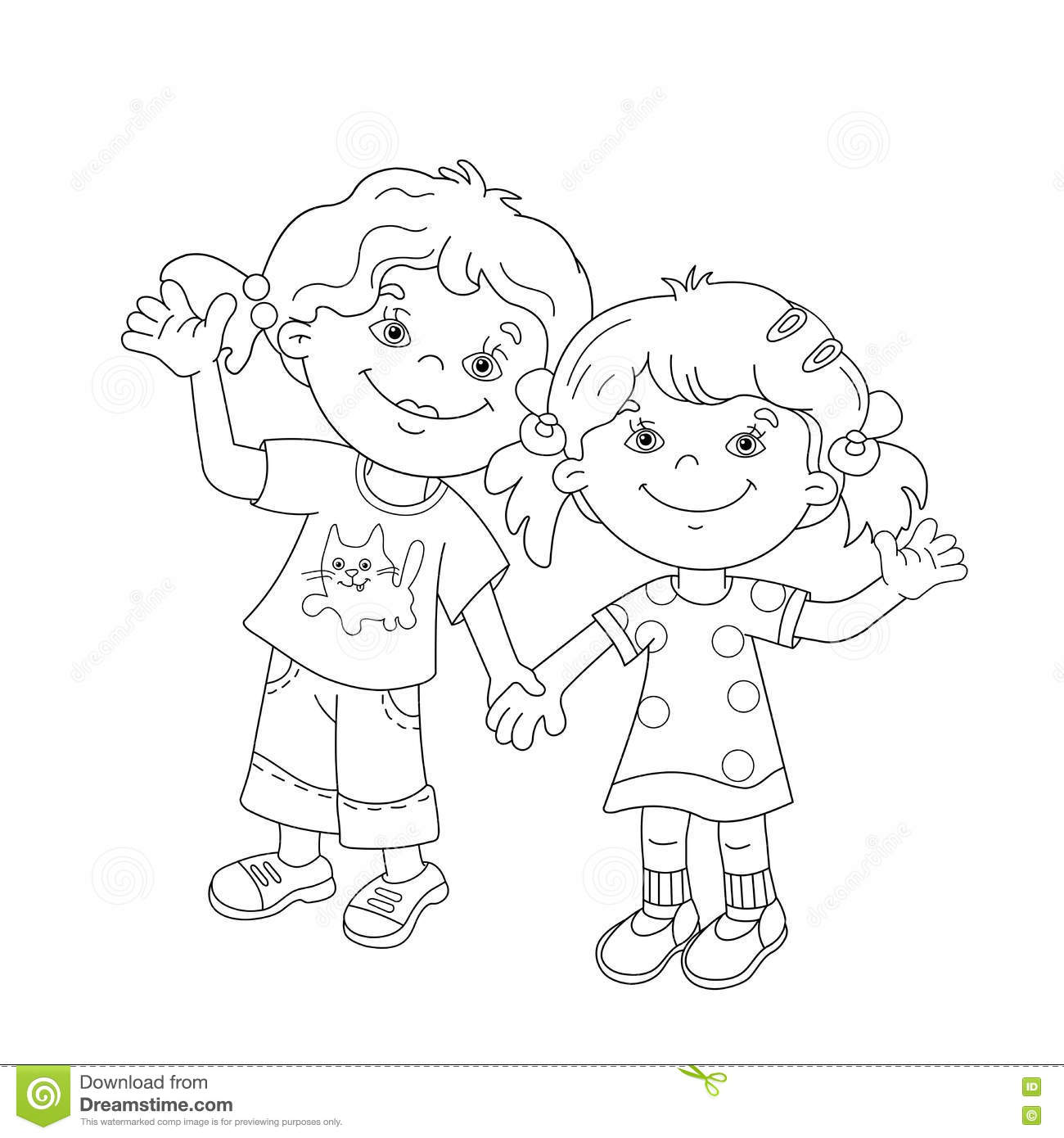 Coloring Page Outline Of Cartoon Girls Holding Hands Stock Vector
