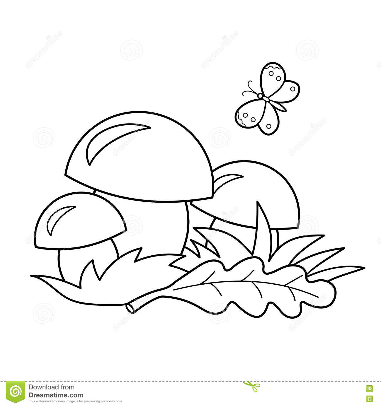Coloring Page Outline Of Cartoon Mushrooms Summer Ts