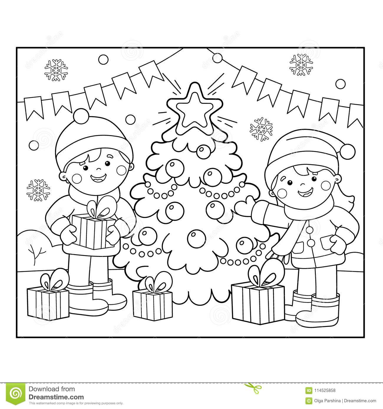 Coloring Page Outline Of Children With Ts At Christmas