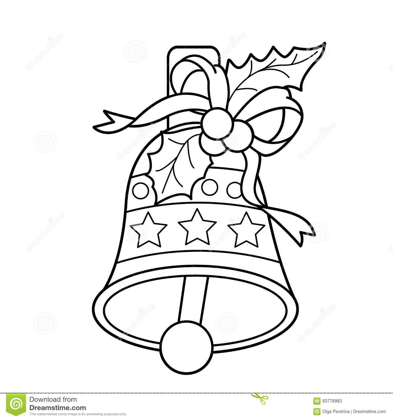 Coloring Page Outline Of Christmas Bell Christmas New Year Coloring Book For Kids Stock