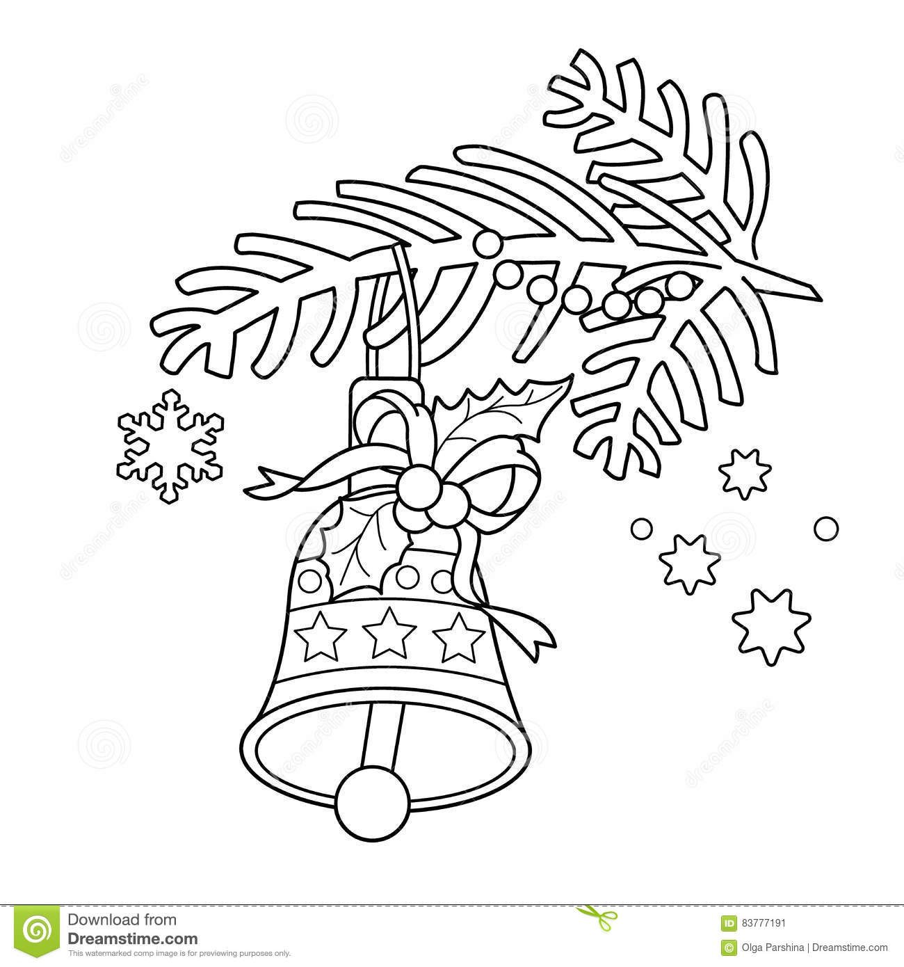 Coloring Page Outline Of Christmas Bell Christmas Tree