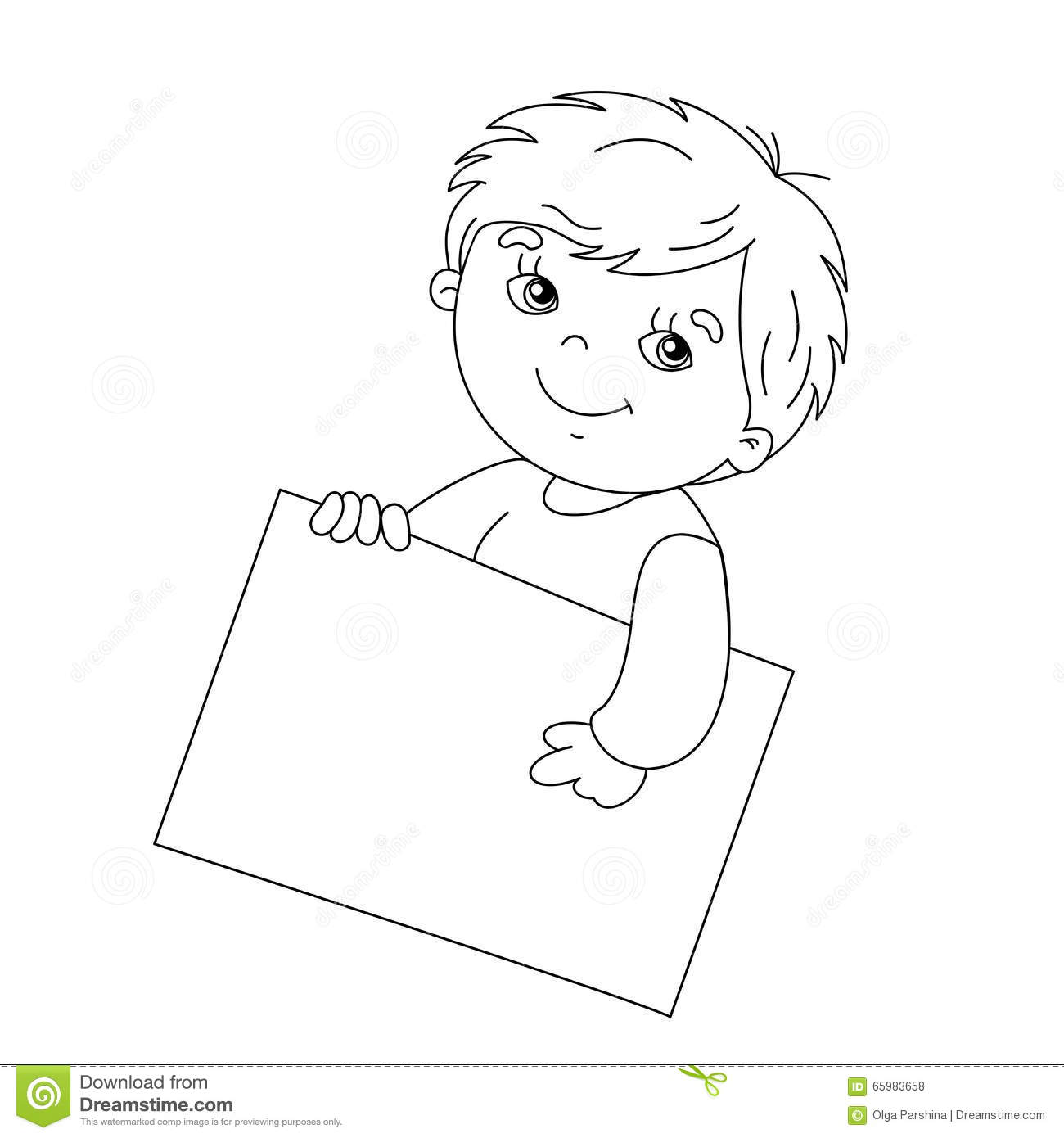 Coloring Page Outline Of Cute Boy Holding A Sign Stock