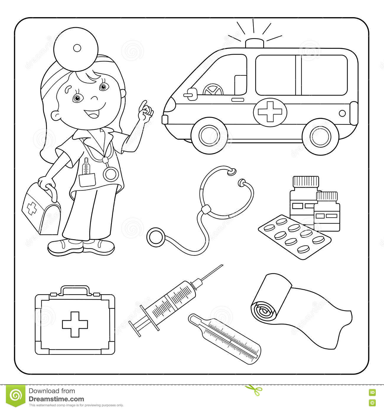 Coloring Page Outline Of Doctor Set Of Medical