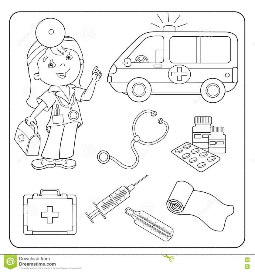 coloring page outline of doctor. set of medical