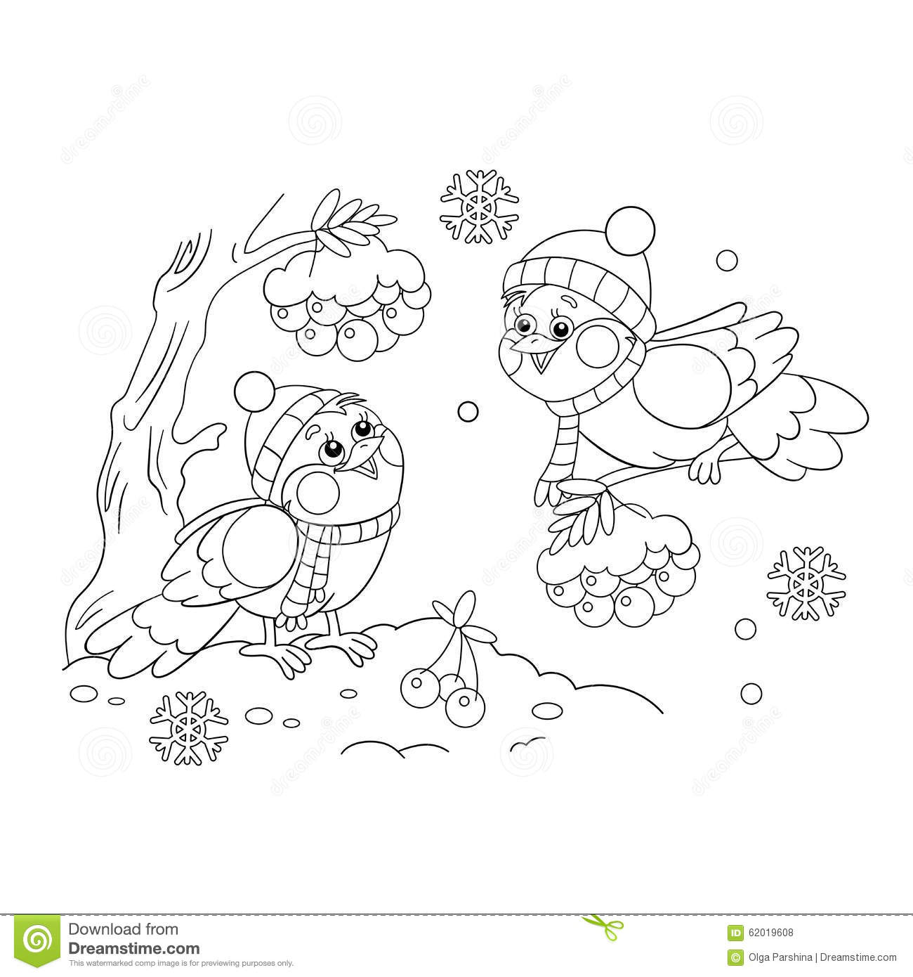 Bird With Scarf And Hat Pages Coloring Pages
