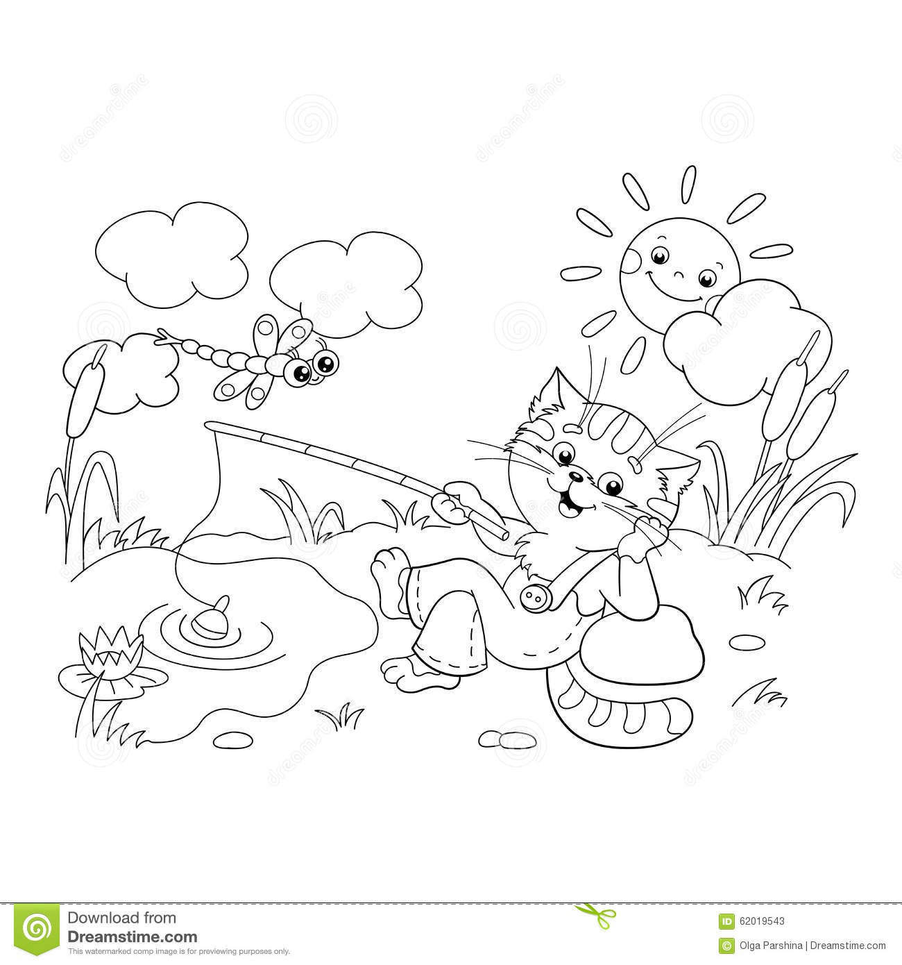 coloring page outline of a funny cat catching a fish stock vector