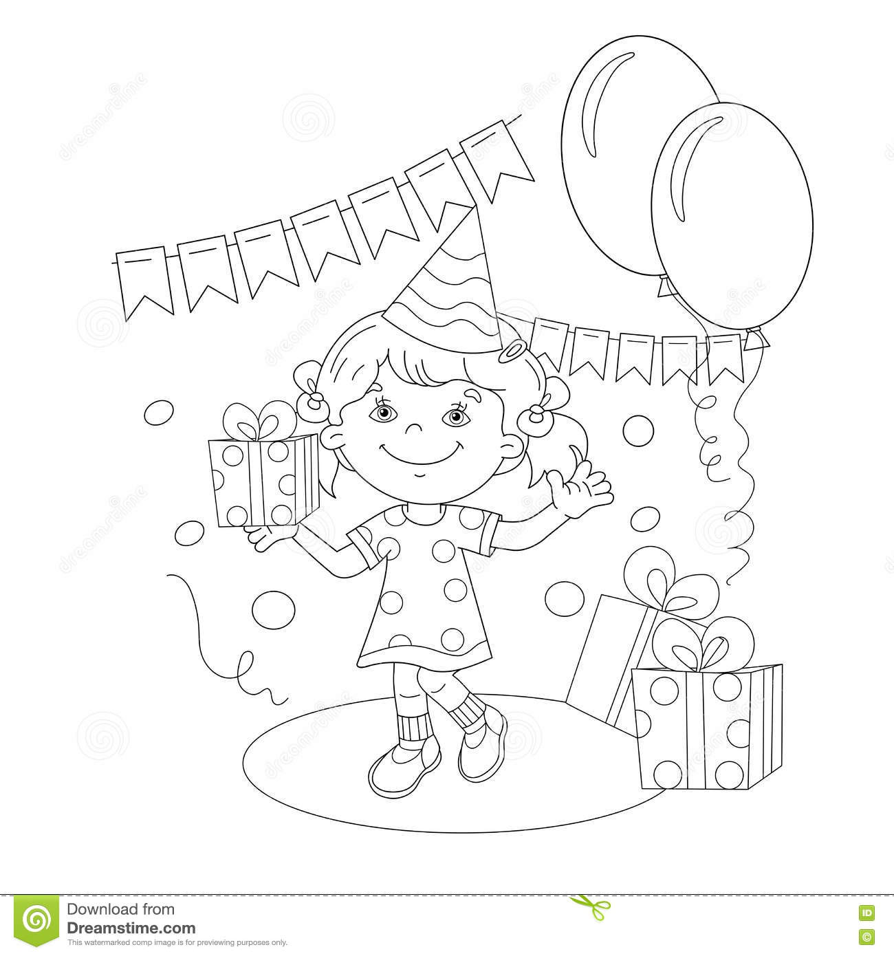 Coloring Page Outline Of Girl With A T At The Holiday