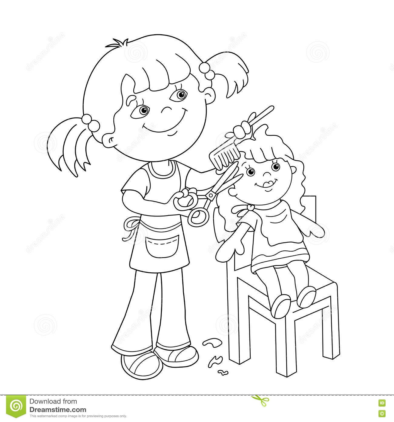 Coloring Page Outline Of Girl With Playing In The Barber
