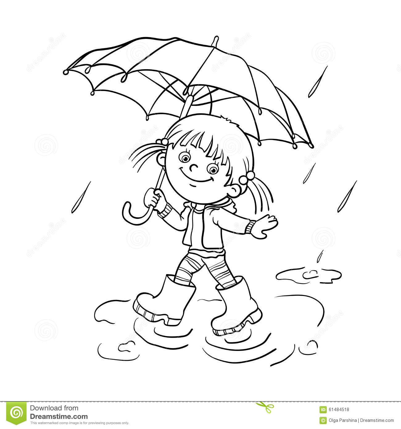 Coloring Page Outline Of A Girl Walking In The Rain Stock