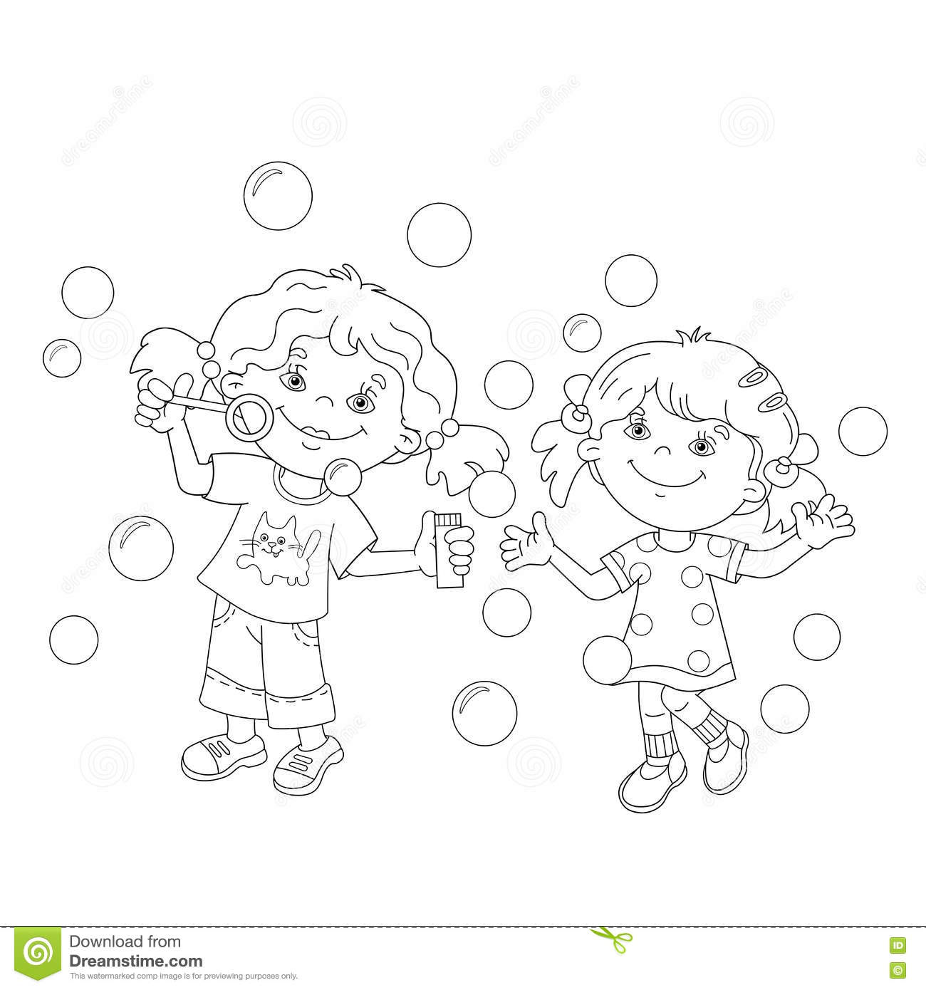 Coloring Page Outline Of Girls Blowing Soap Bubbles