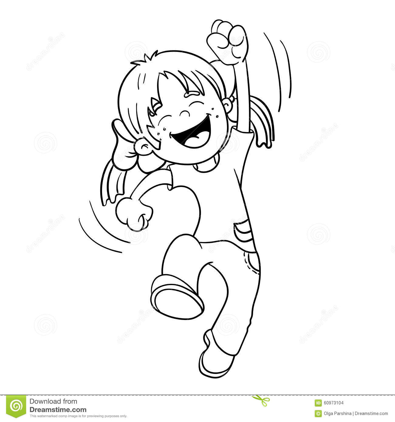 Coloring Page Outline Of A Jumping Girl Stock Vector