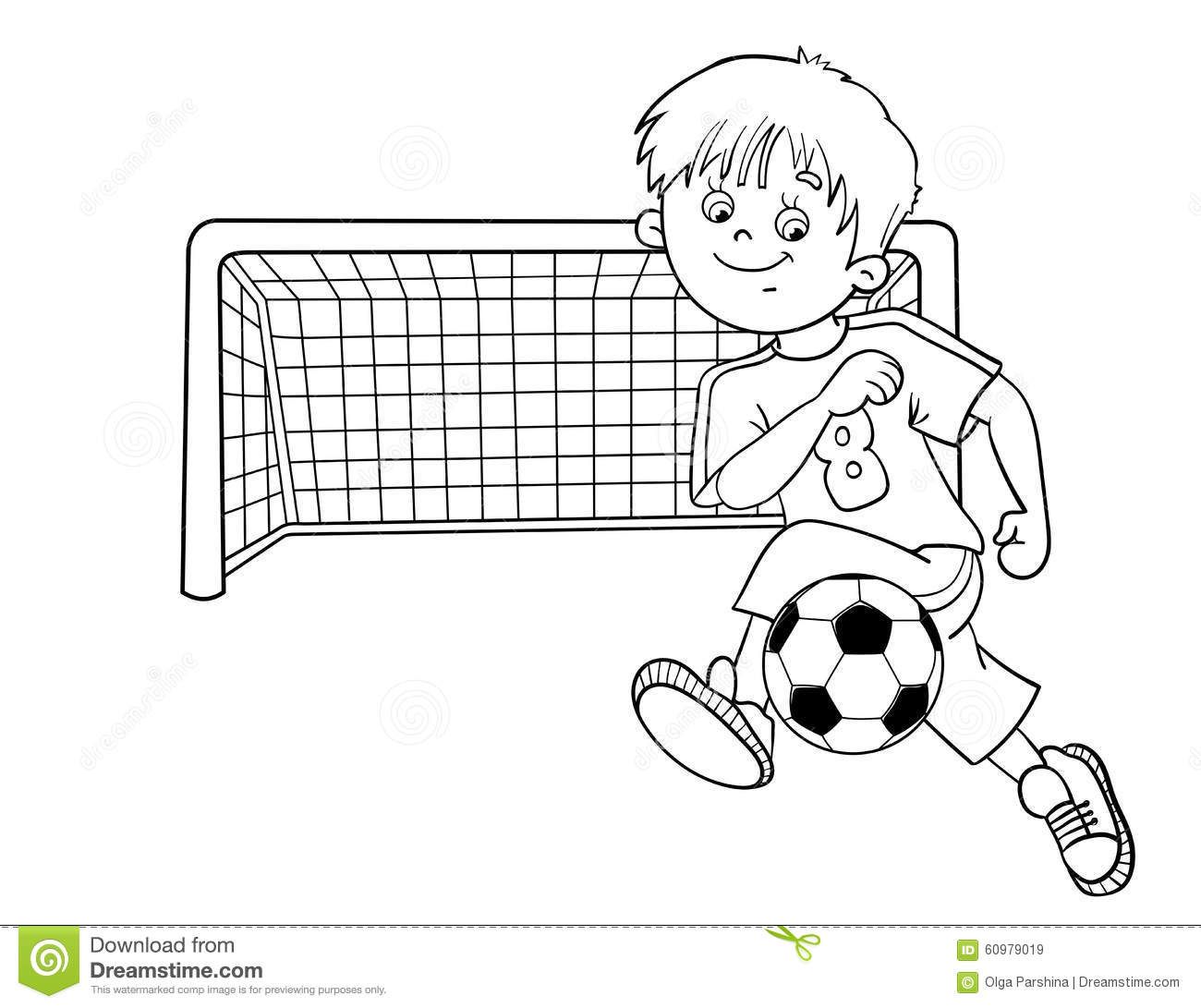 Coloring Page Outline Of A Soccer Boy Stock Vector