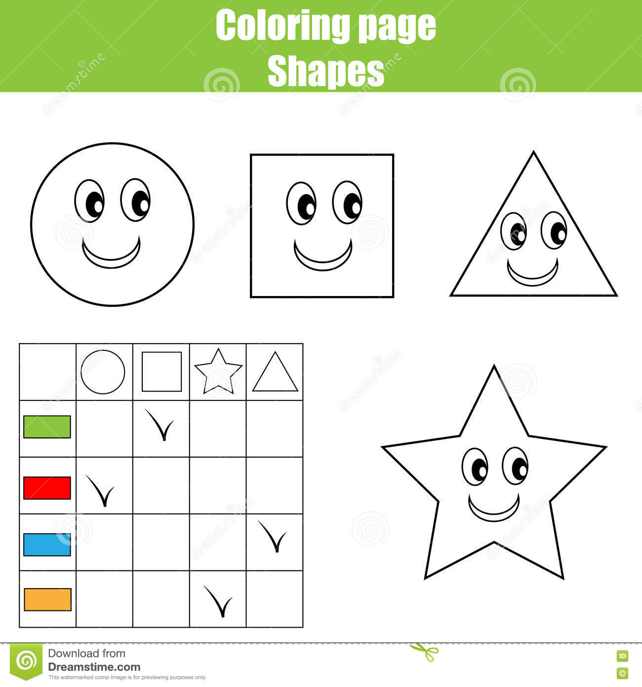 Coloring Page Practice Sheet Educational Children Game