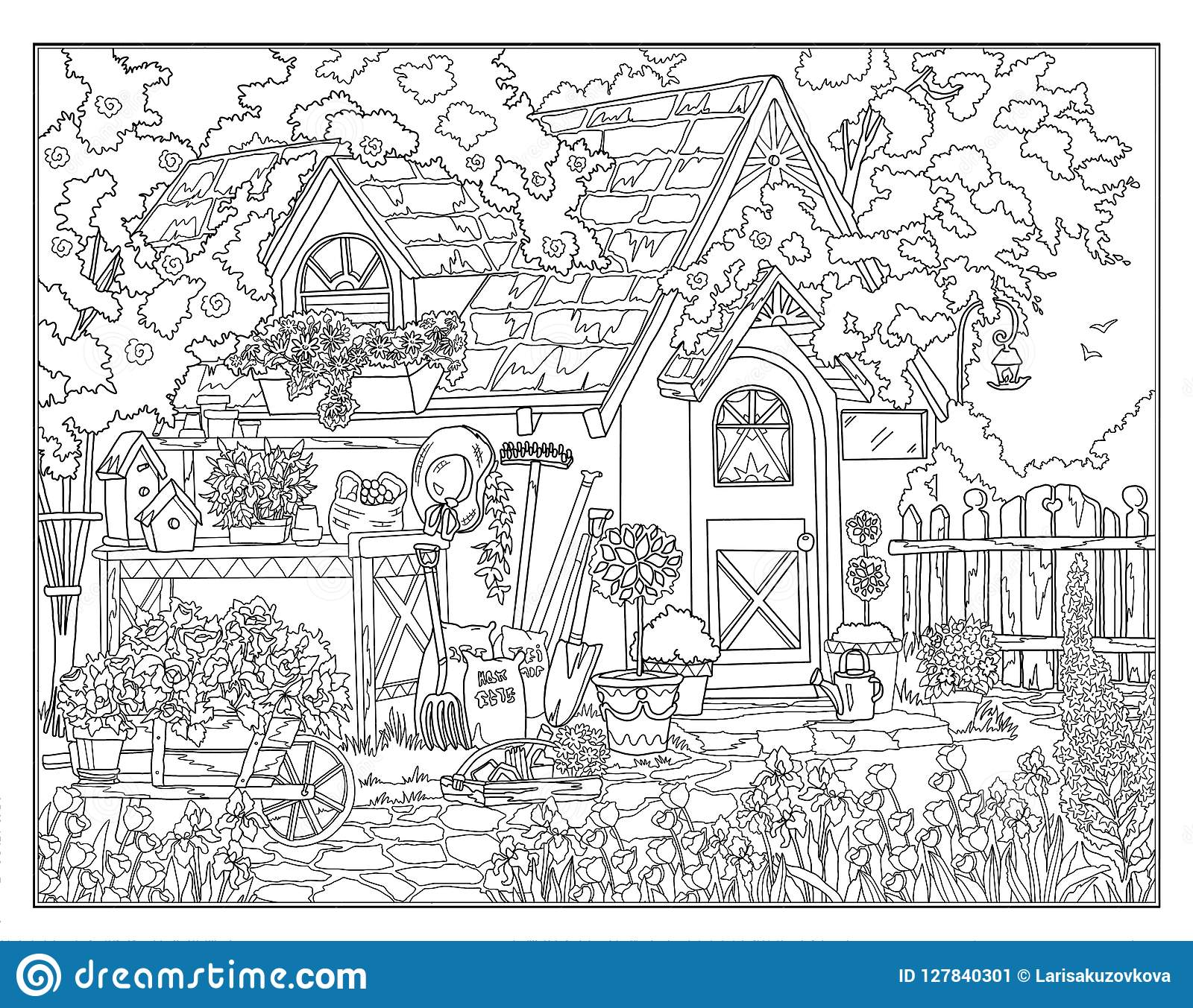 Coloring Page The Secret Garden Stock Illustration