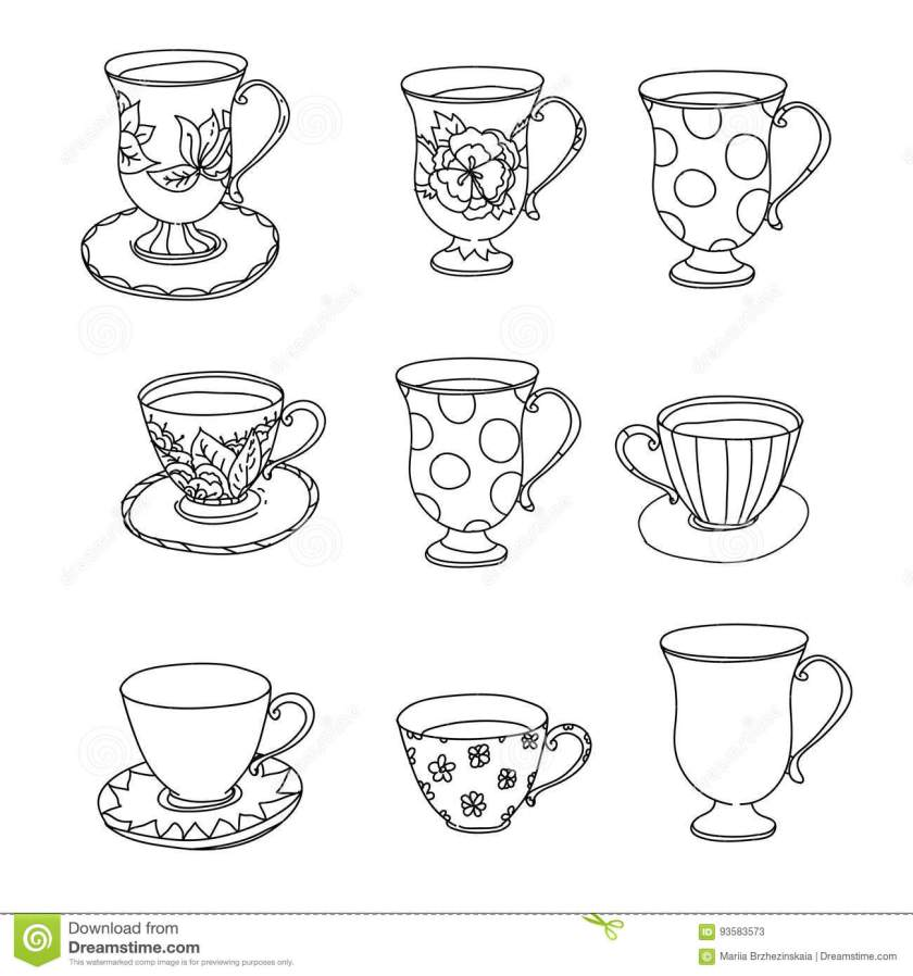 coloring page set. cupcake ice cream tea pot cup. stock