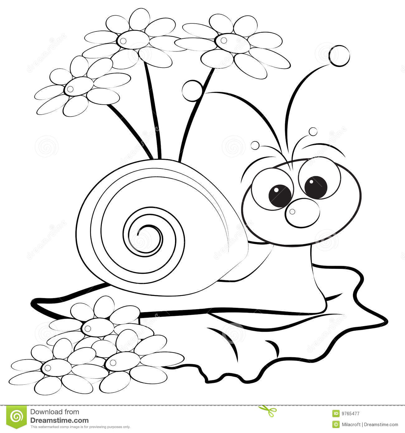 coloring page snail and daisy royalty free stock photography