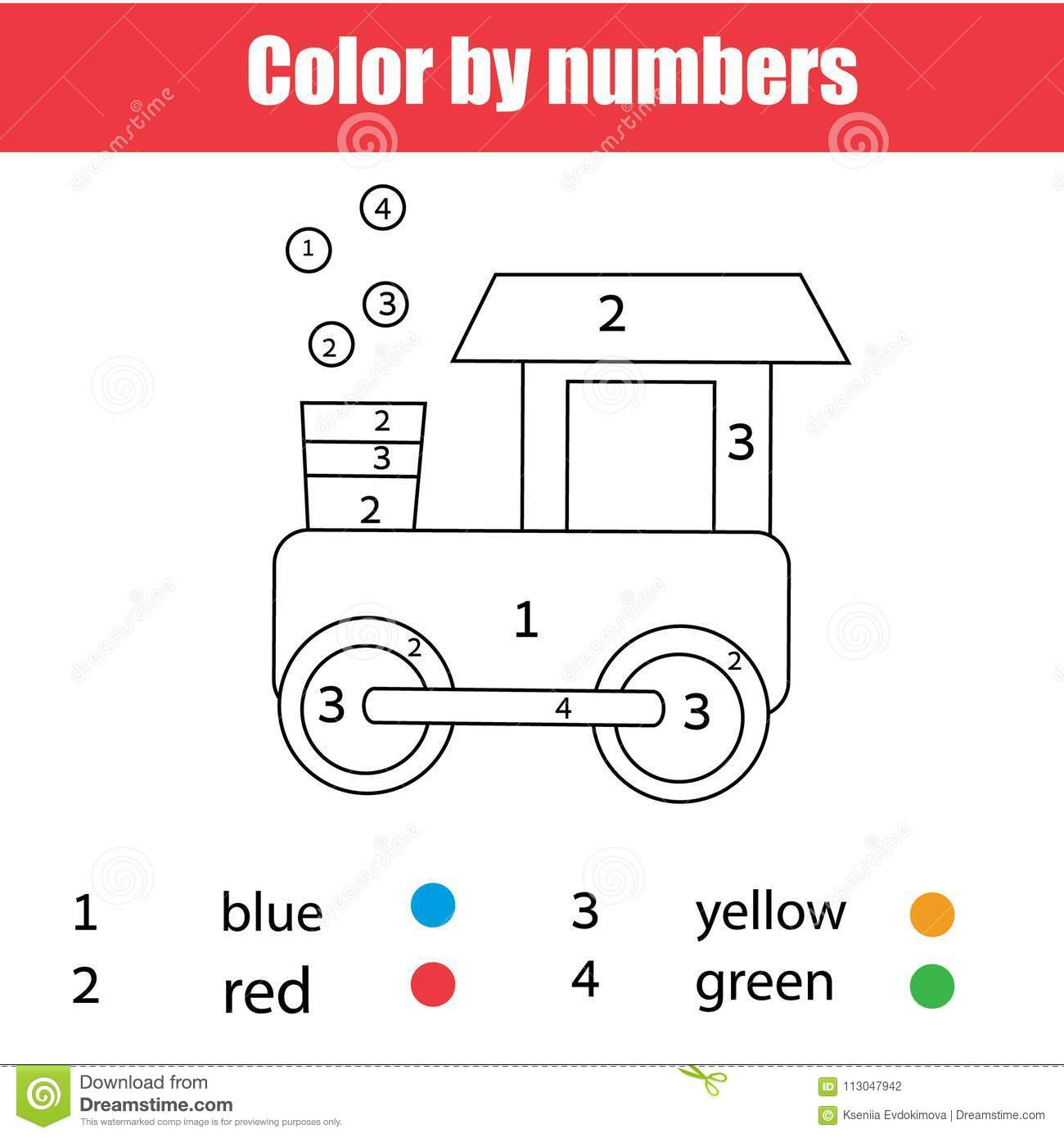 Coloring Page With Toy Train Color By Numbers Printable