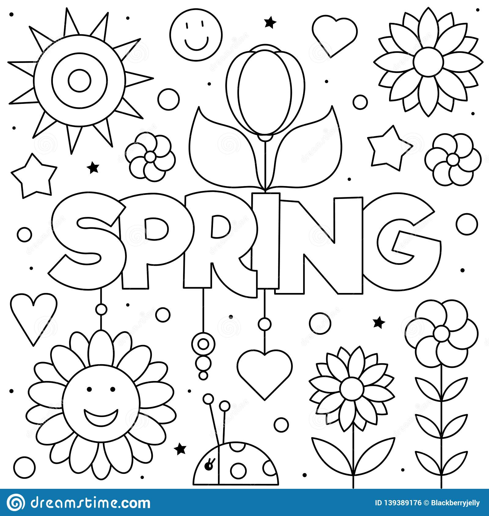 Coloring Page Vector Illustration Of Flowers Spring