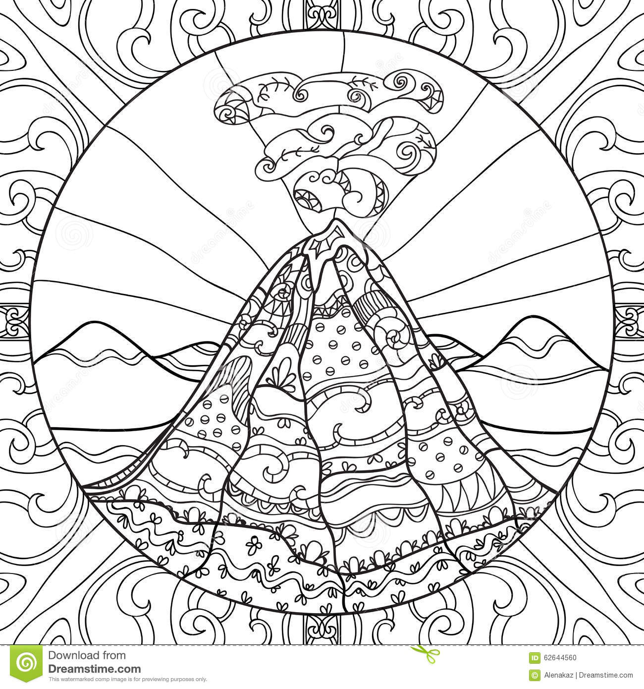 Coloring Page With Volcano Stock Vector