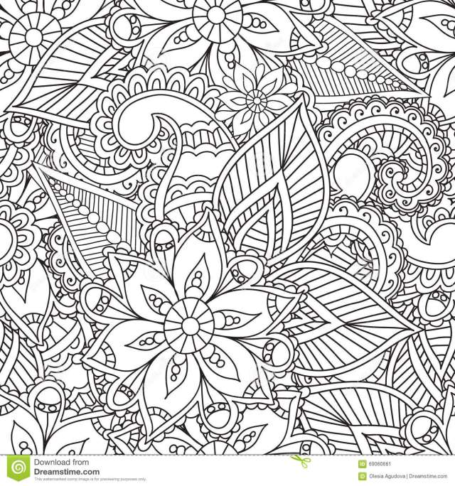 Coloring Pages for Adults. Seamles Henna Mehndi Doodles Abstract