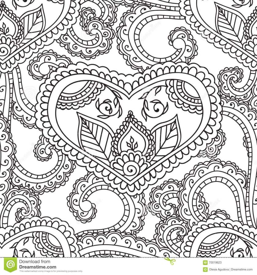 coloring pages for adults. seamles henna mehndi doodles