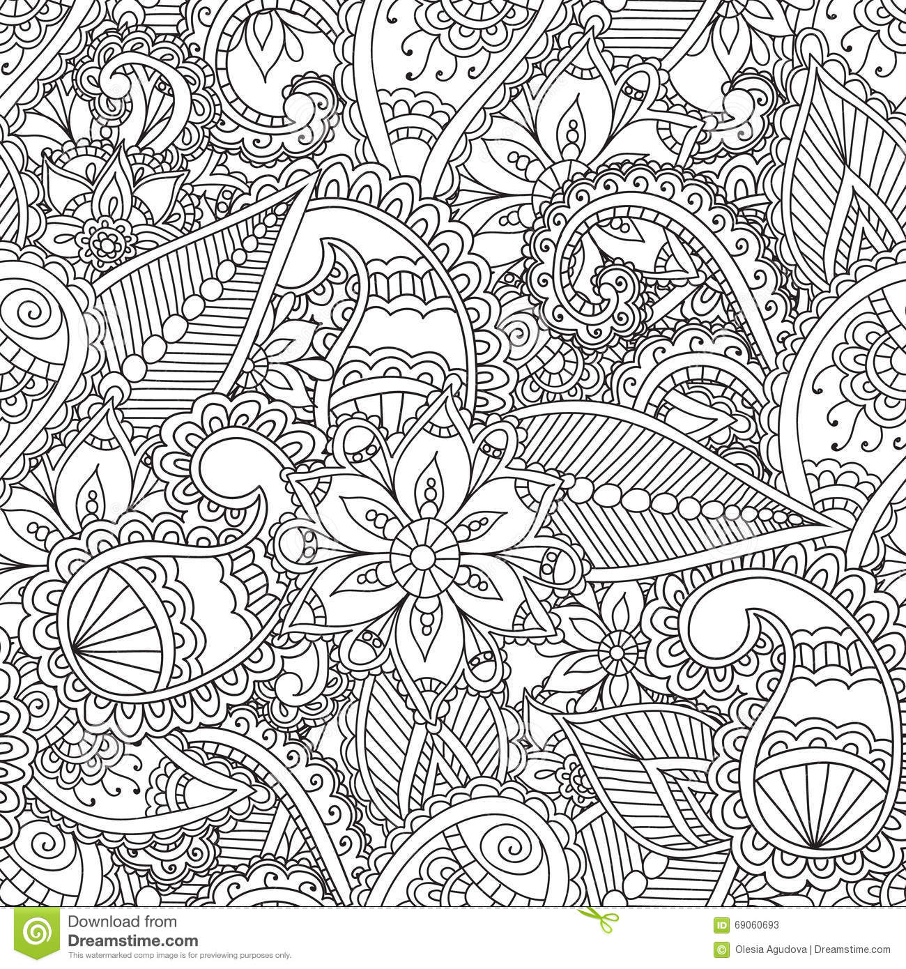 Coloring Pages For Adults Stock Vector Illustration Of Doodle