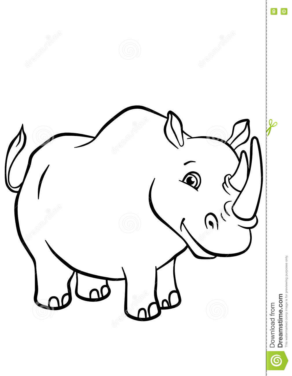 coloring pages animals cute rhinoceros stock vector image
