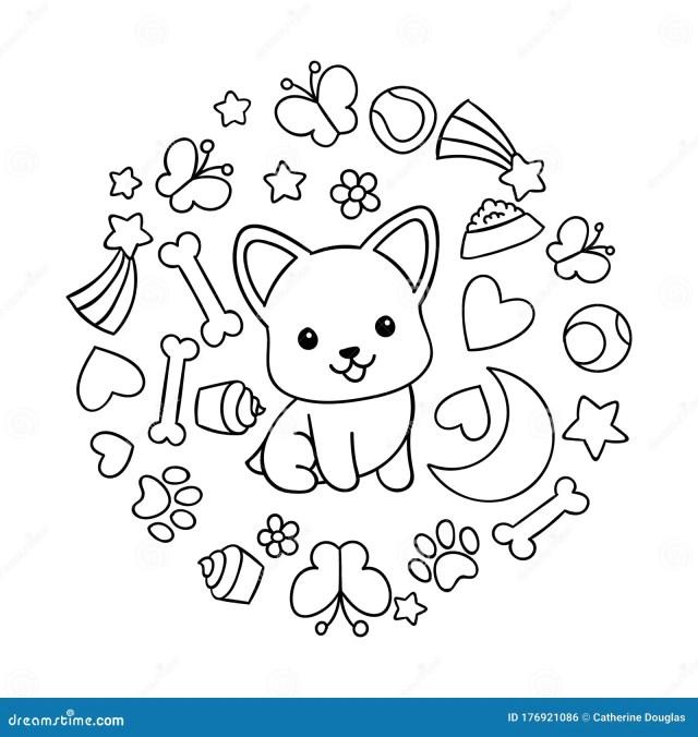 Coloring Pages, Black and White Cute Kawaii Hand Drawn Corgi Dog