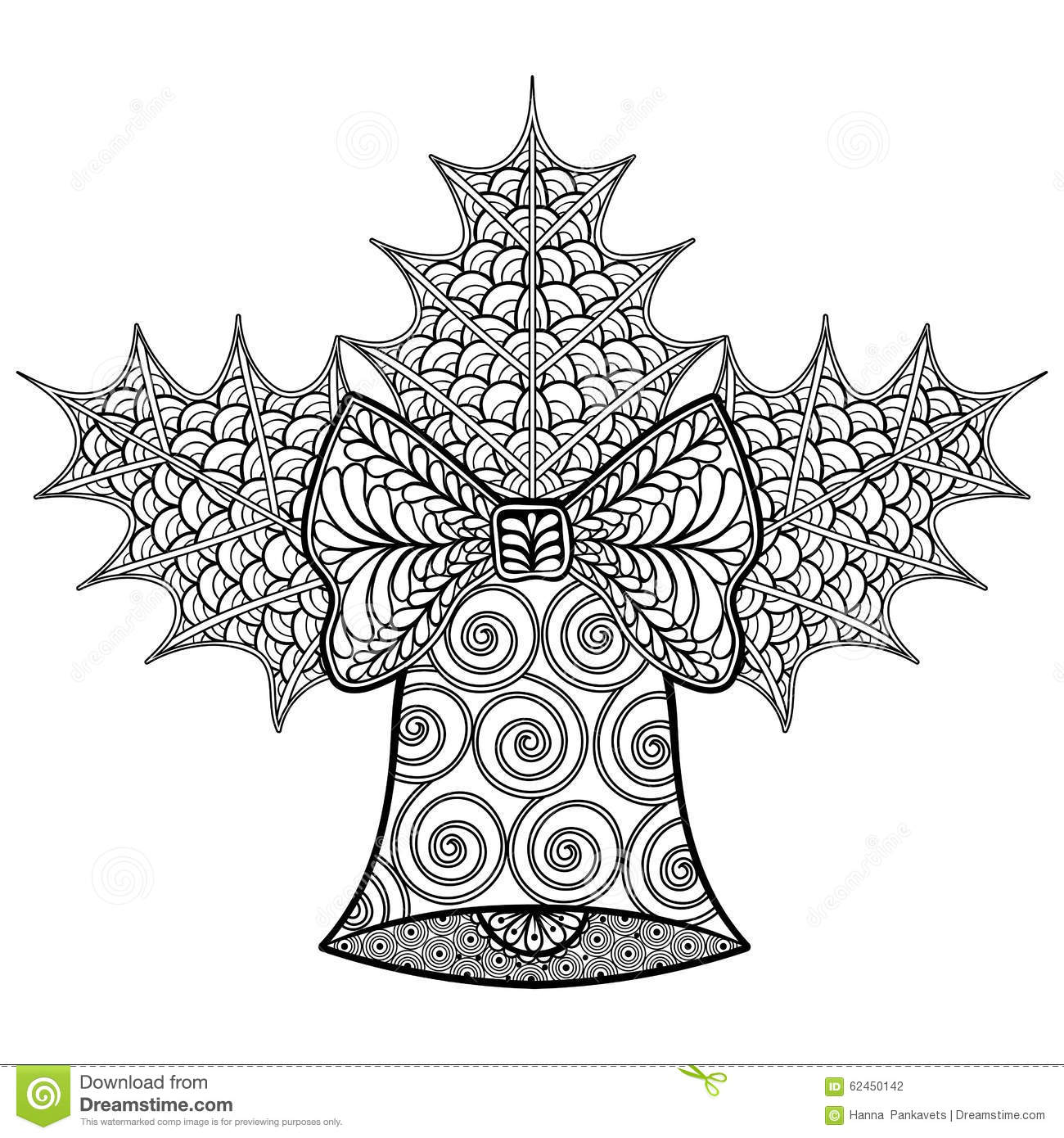 coloring pages with christmas decorative bell and mistletoe zen stock