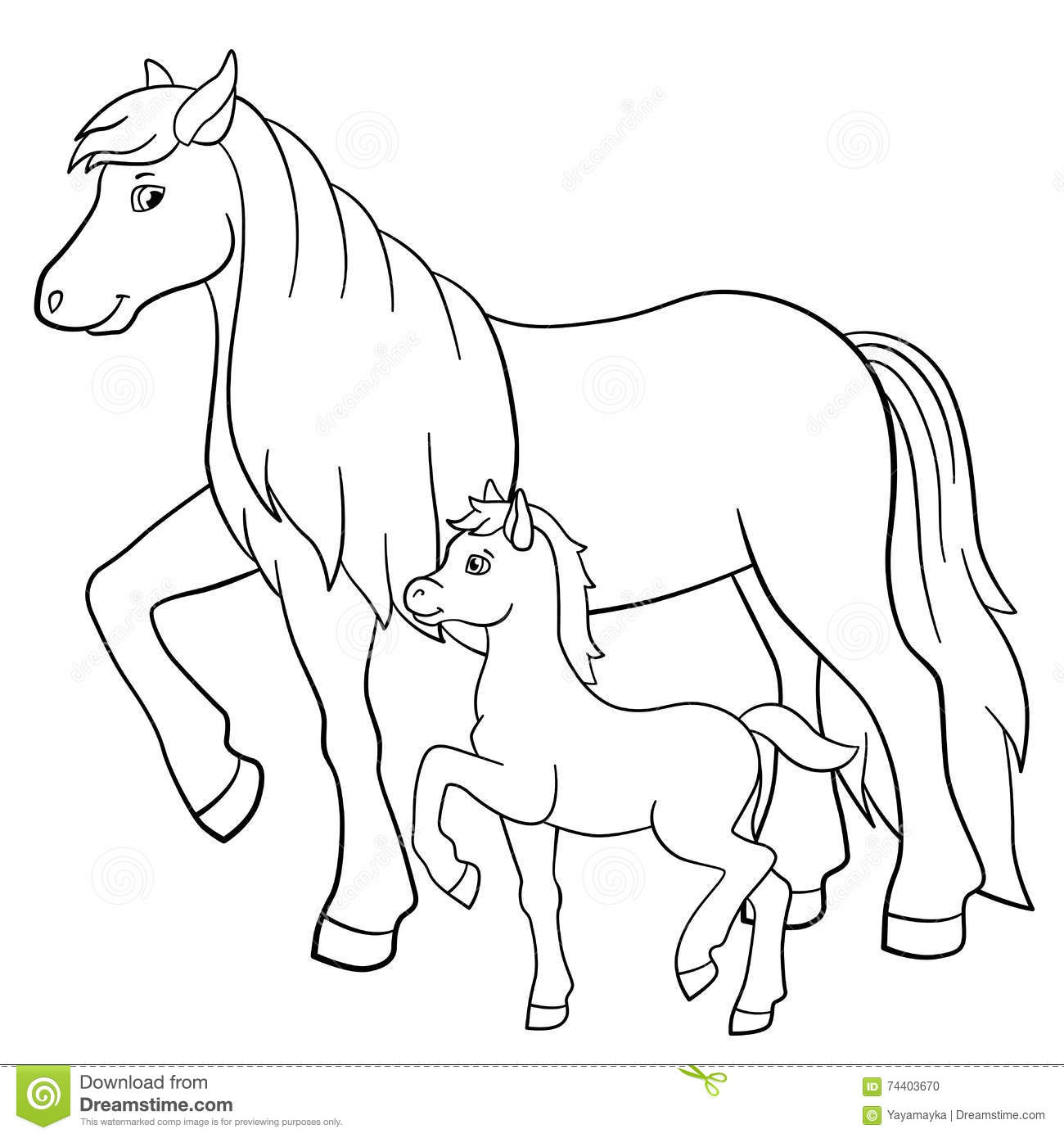 Coloring Pages Farm Animals Mother Horse With Foal