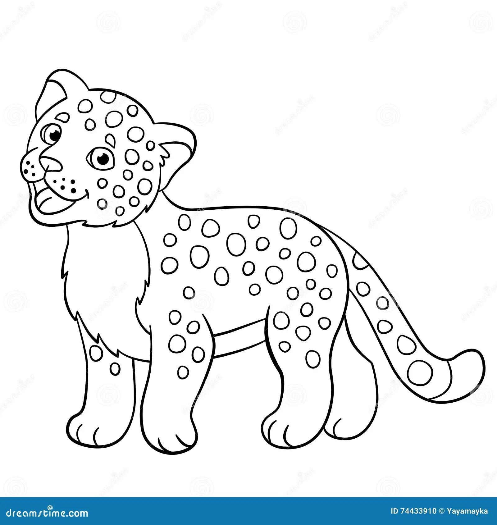 Coloring Pages Little Cute Baby Jaguar Smiles Stock
