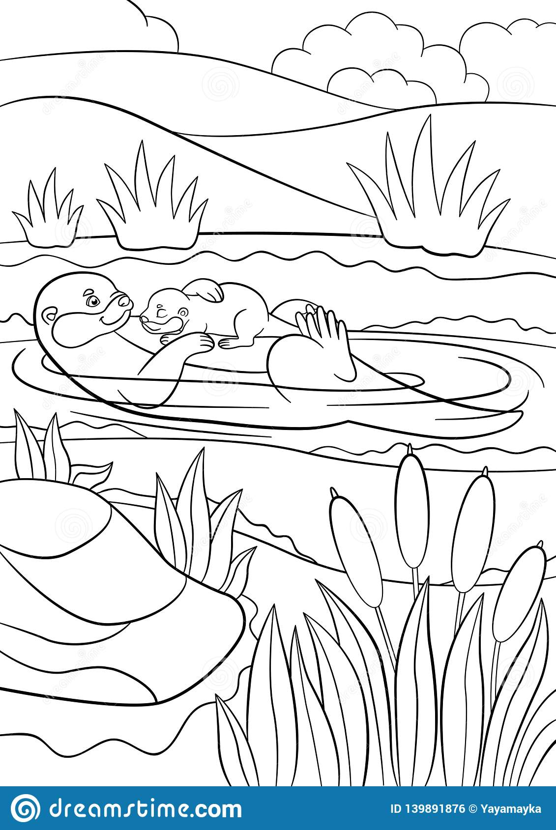 Coloring Pages Mother Otter Swims With Her Baby Stock