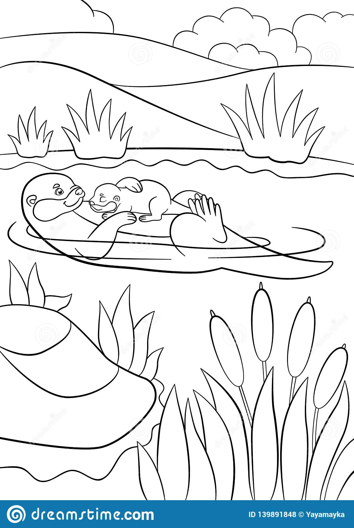 Coloring Pages Mother Otter Swims With Her Little Cute