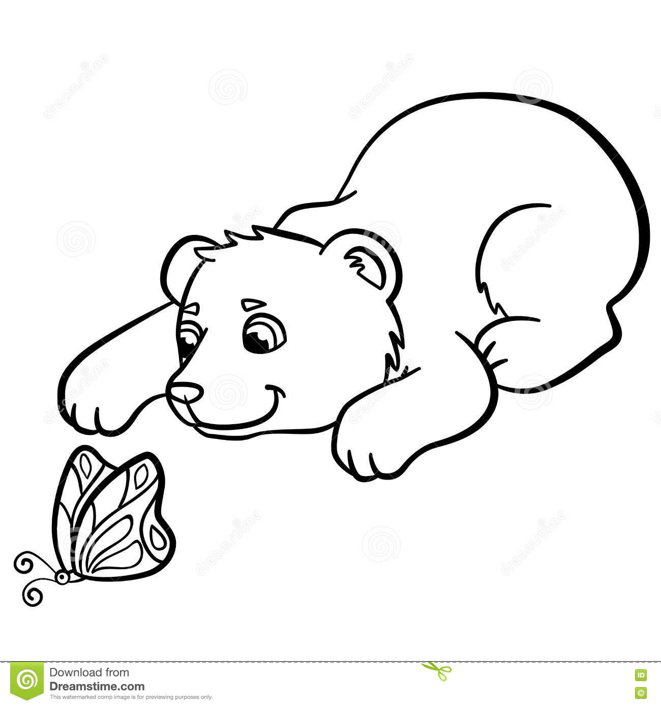 Coloring Pages Wild Animals Little Cute Baby Bear Stock