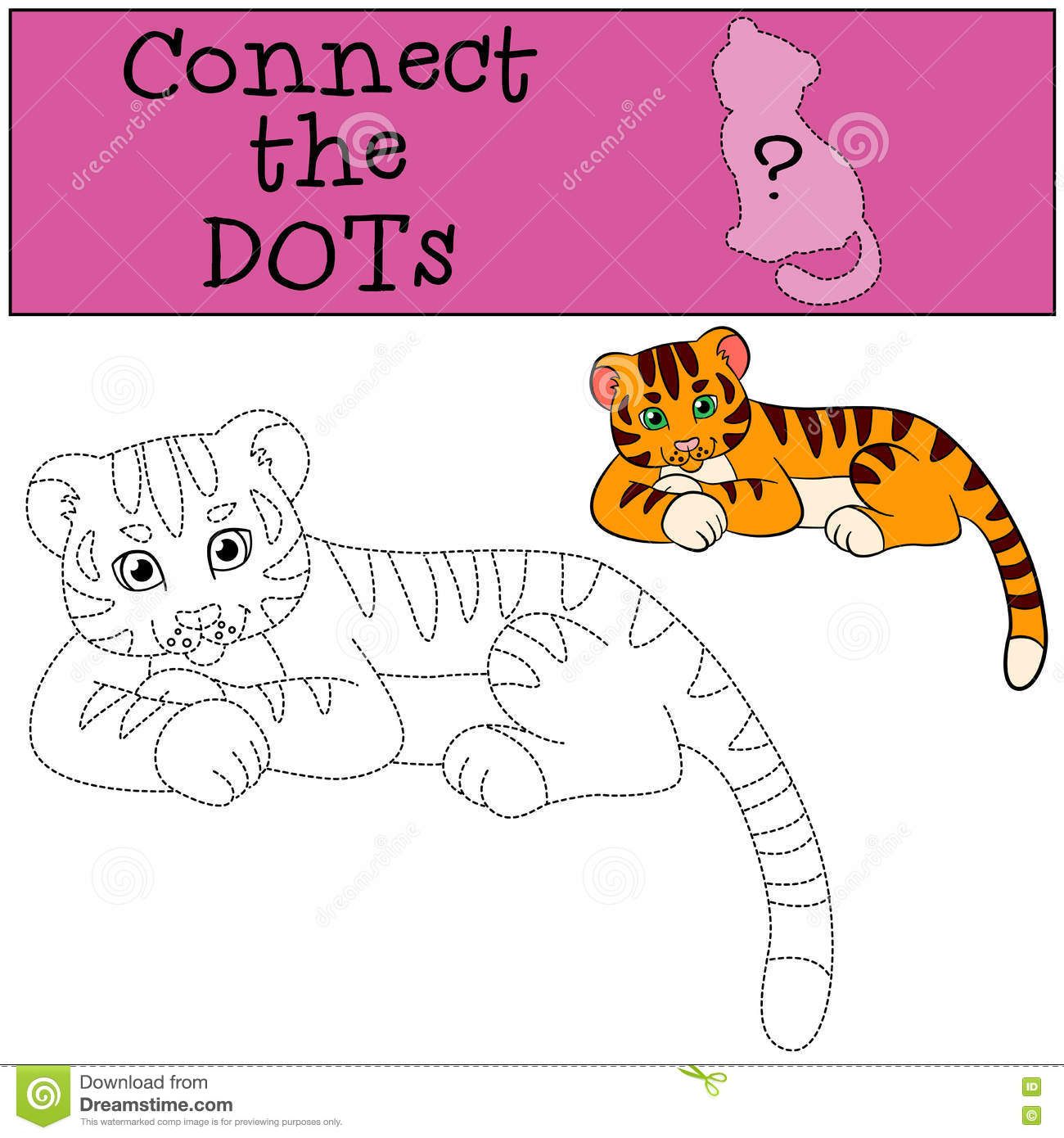 Coloring Pages Wild Animals Little Cute Baby Tiger Cartoon Vector