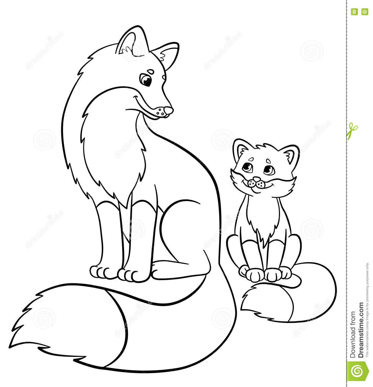 Coloring Pages Wild Animals Mother Fox With Her Little