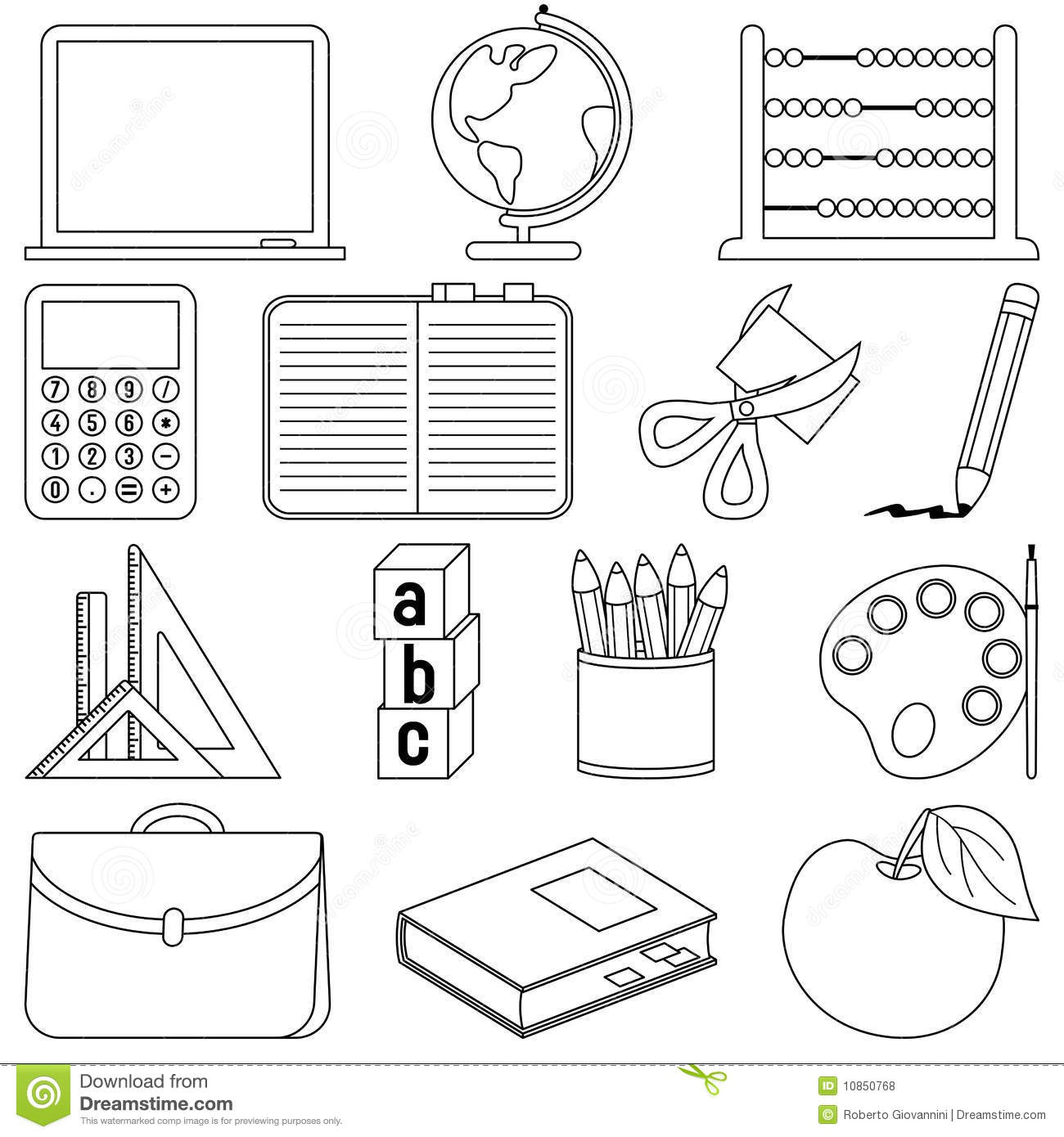 Coloring School Icons Stock Vector Illustration Of
