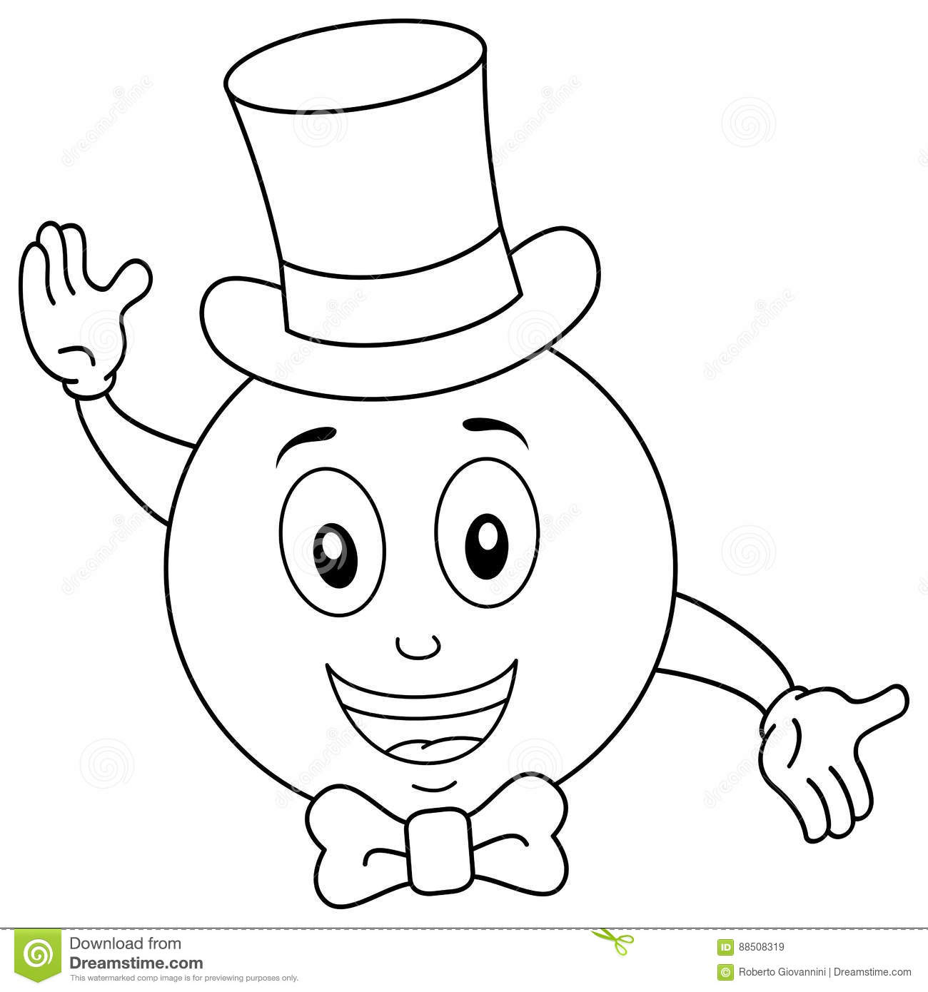 Coloring Smiley With Top Hat And Bow Tie Cartoon Vector