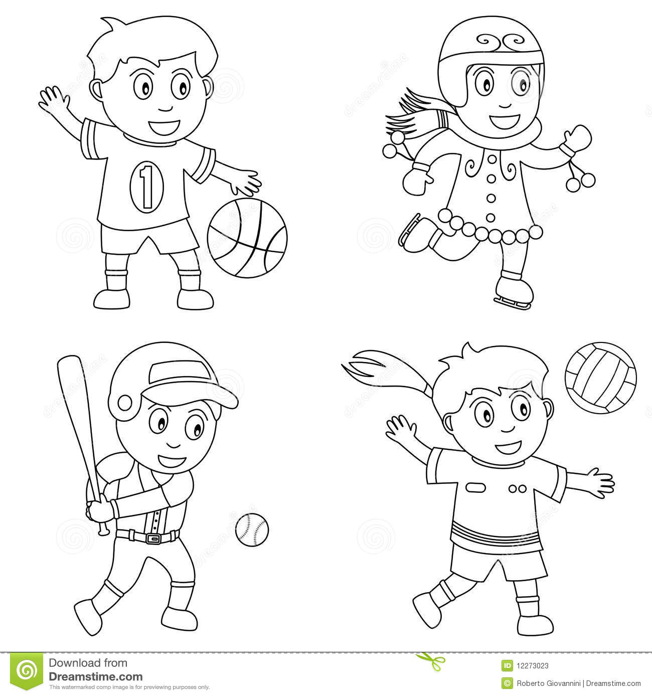 Coloring Sport For Kids 1 Stock Vector