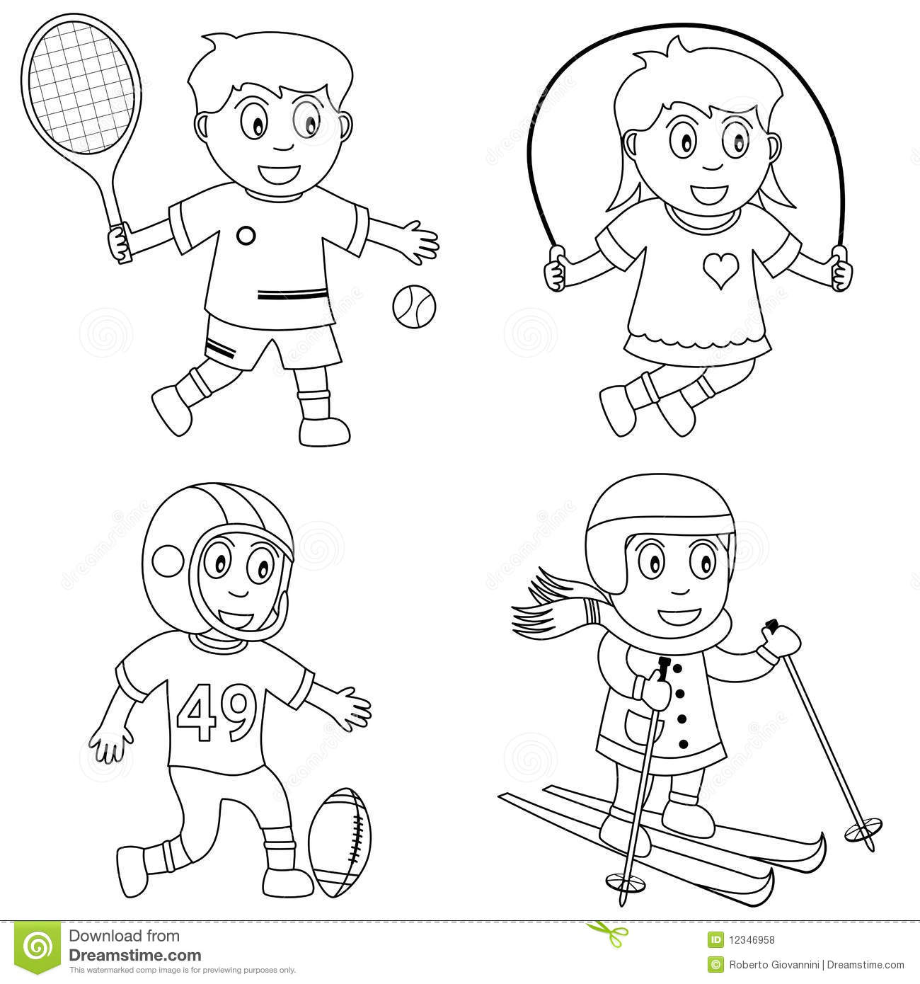 Coloring Sport For Kids 3 Stock Vector