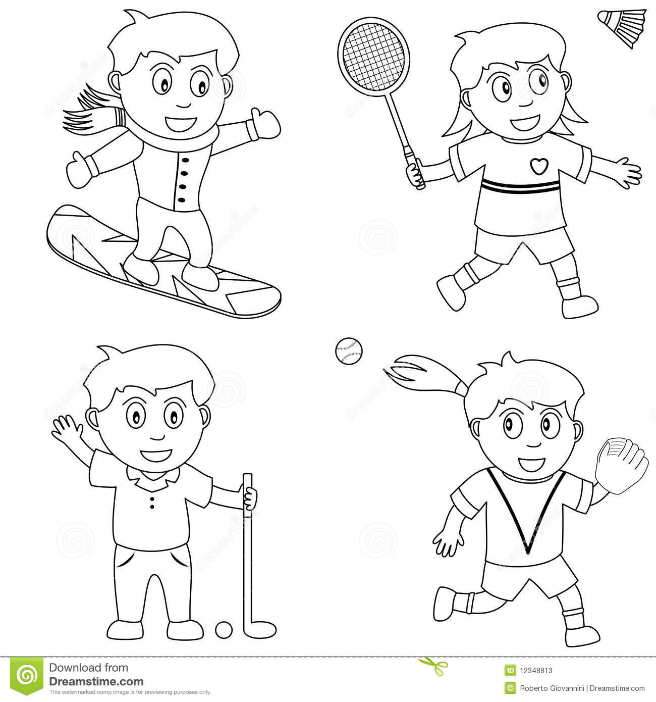 Coloring Sport For Kids 5 Stock Vector