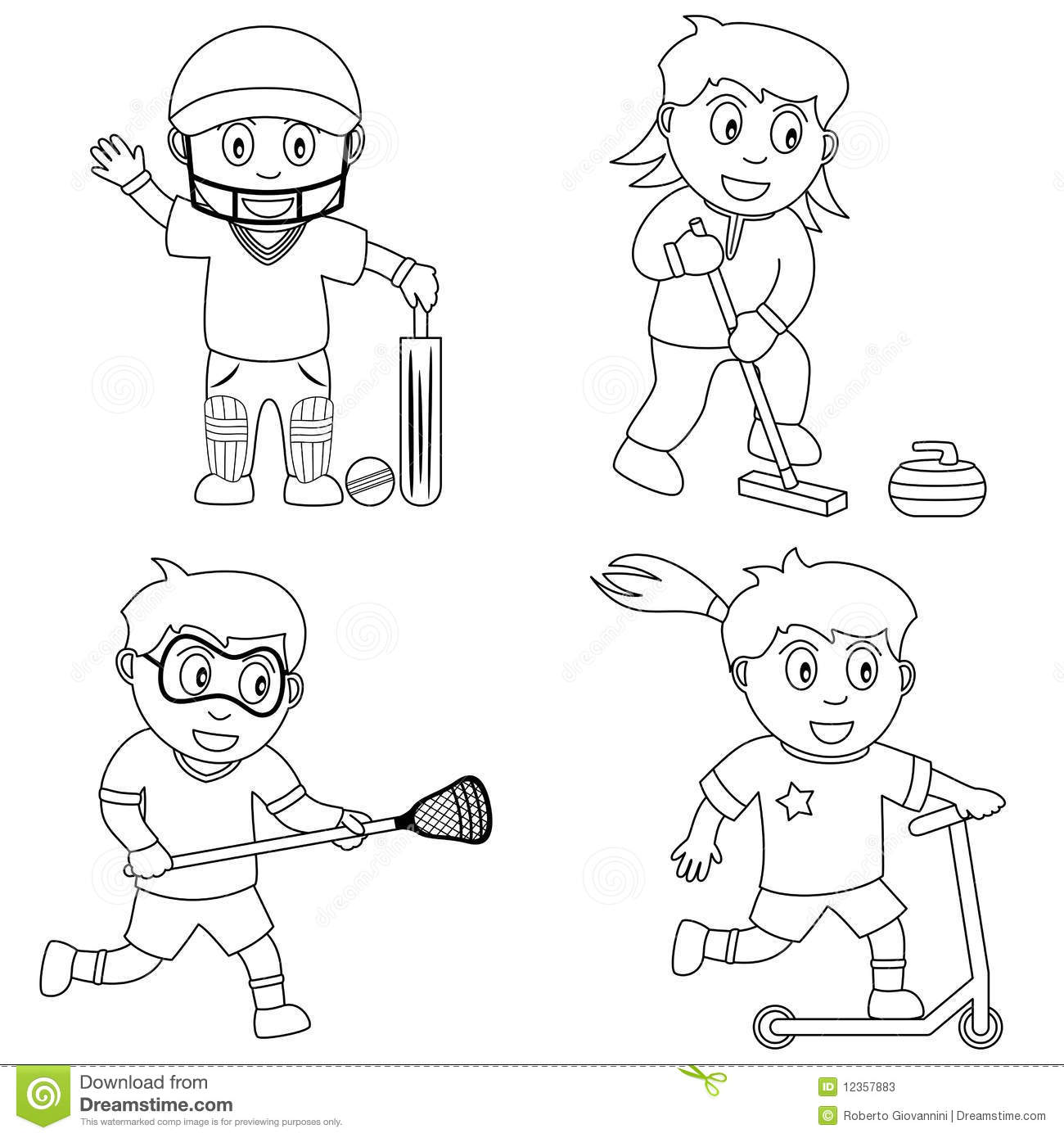 Coloring Sport For Kids 6 Stock Photos