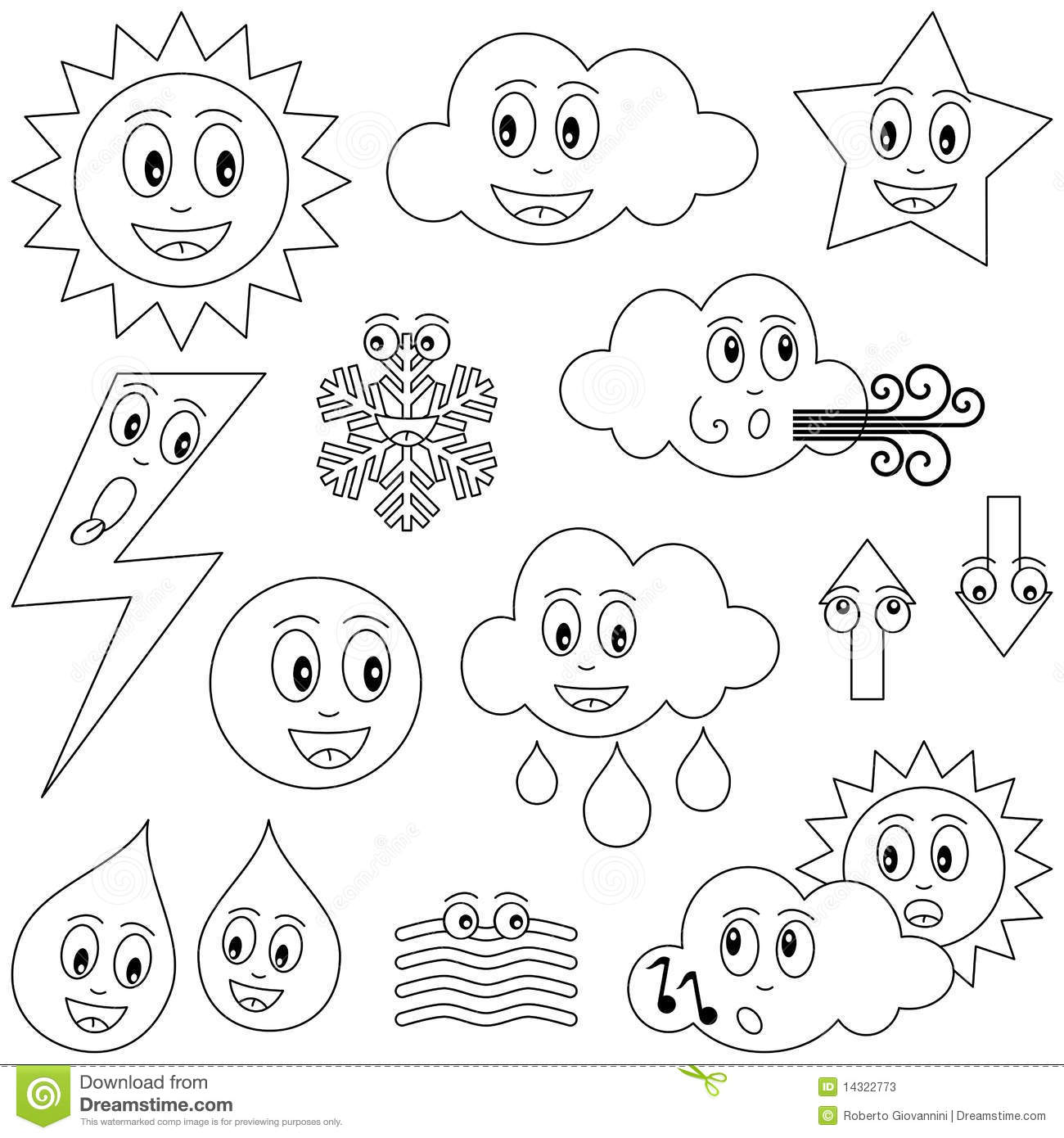 Coloring Weather Characters Stock Photos