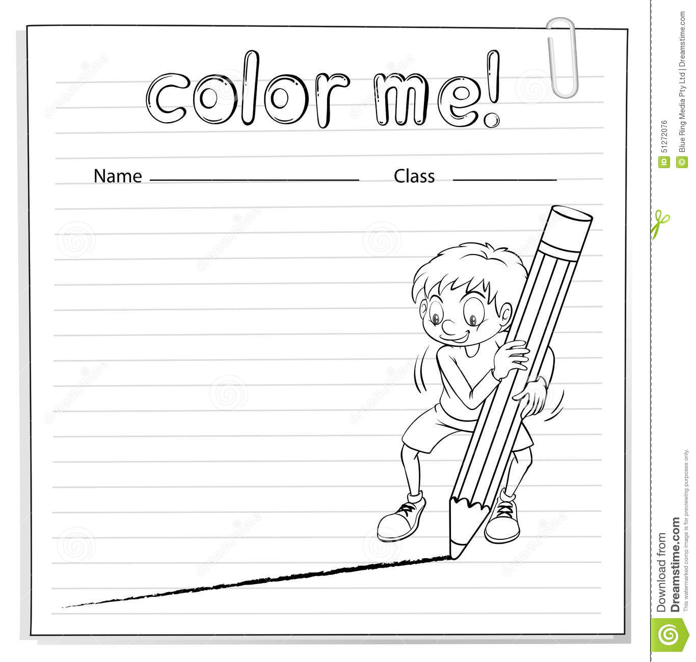 Coloring Worksheet With A Boy Drawing A Line Stock Vector