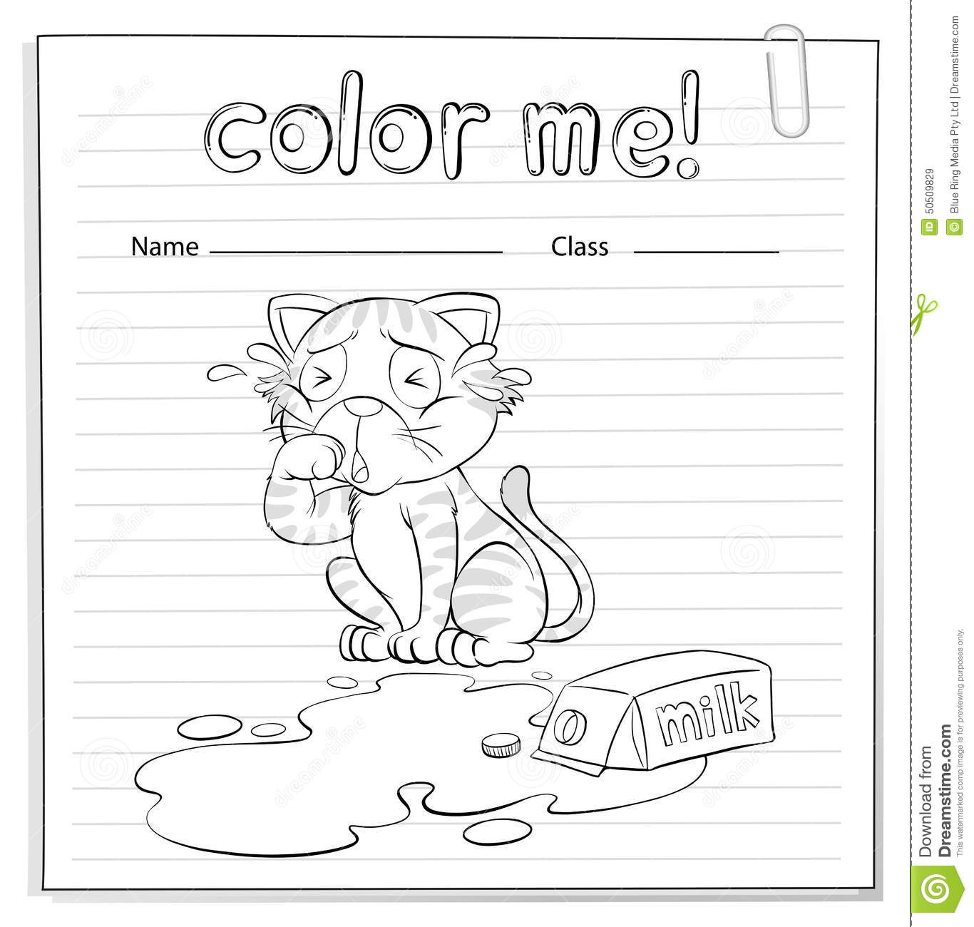A Coloring Worksheet With A Cat Stock Vector