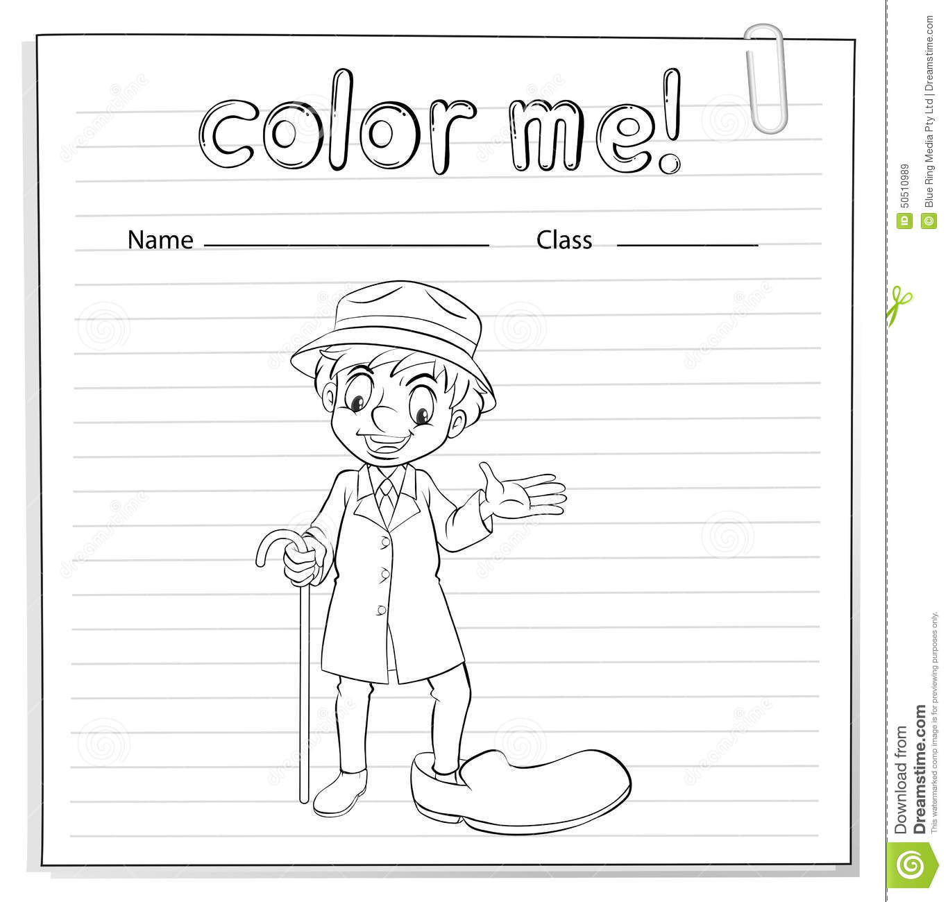 A Coloring Worksheet With A Man Stock Vector