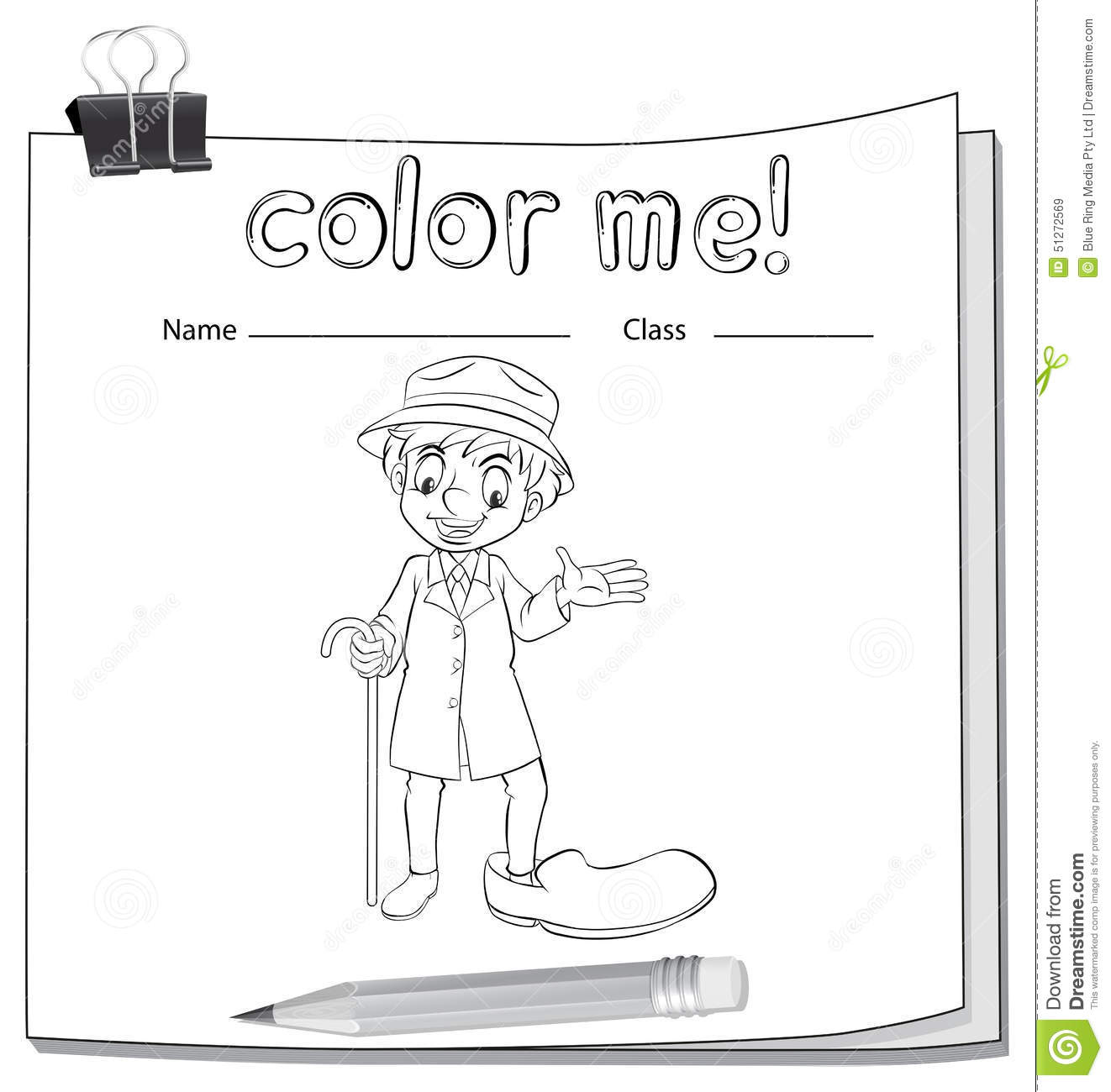 Coloring Worksheet With An Old Man Stock Vector